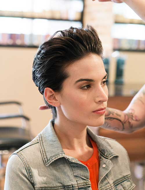 Slicked Back Pixie Hairstyles