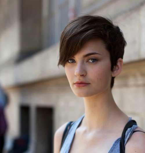 Asymmetrical Long Brown Pixie Cuts
