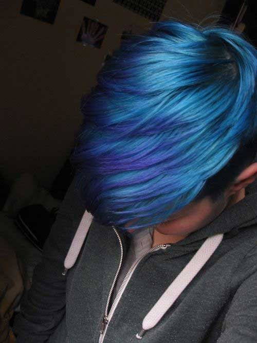 Blue Colored Long Pixie Hair