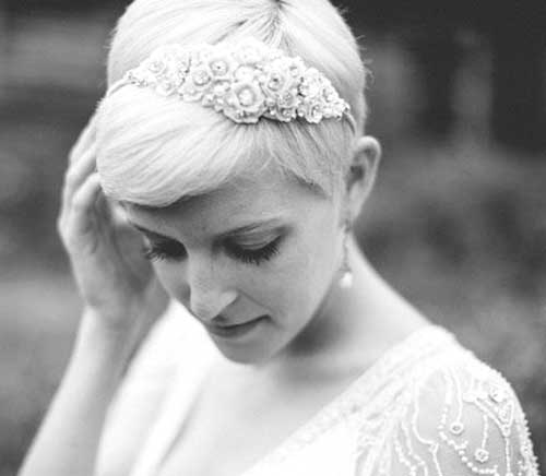 Bridal Pixie Blonde Hairstyles for Wedding
