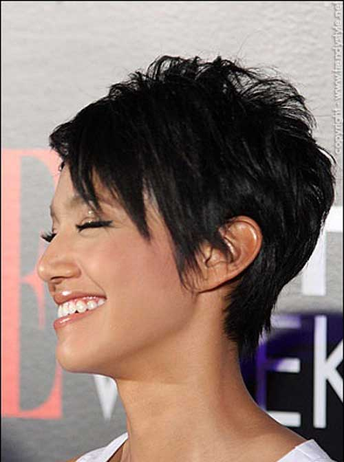 Dark Layered Pixie Hairstyles for Women