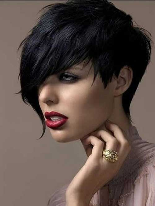 Dark Long Pixie Hairstyles Images
