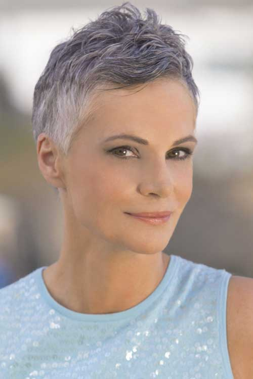 Grey Casual Pixie Hair Cuts