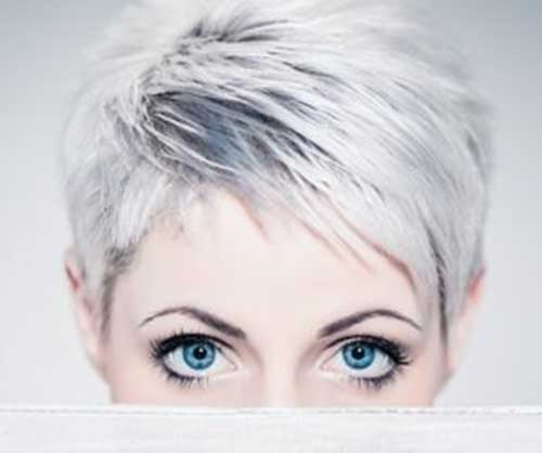 Grey Long Straight Pixie Hairstyles