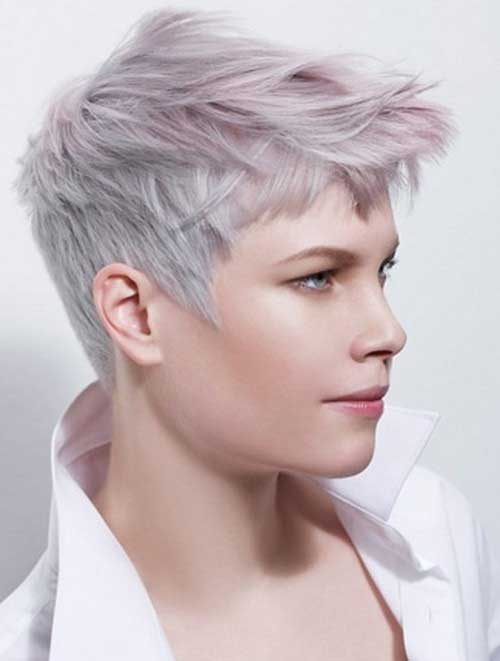 Grey Pixie Spiky Hair Cuts