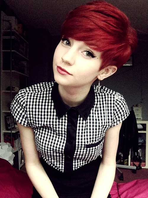 Red Hair Color Ideas Pixie Cut