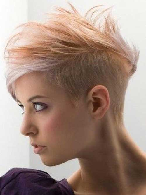 Half Shaved Short Back Pixie Haircut