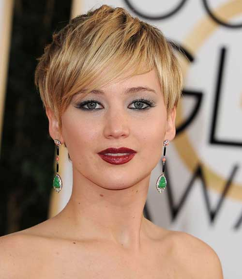 Jennifer Lawrence Casual Pixie Cut Ideas