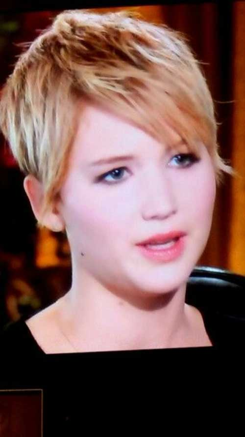 Jennifer Lawrence Long Layered Pixie Cut 2014