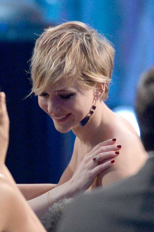 Jennifer Lawrence Long Pixie Hair Cut