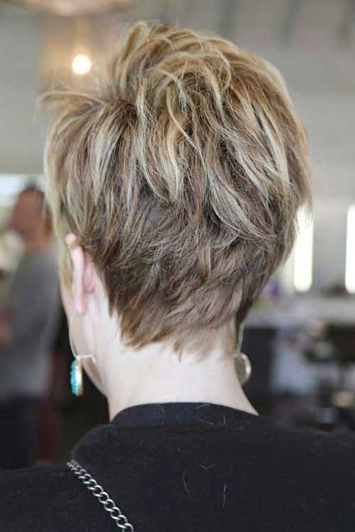 Layered Brown Pixie Haircut Styles Back View