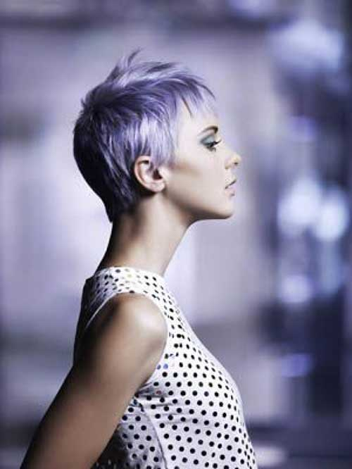 Lilac Colored Fine Pixie Hairstyles