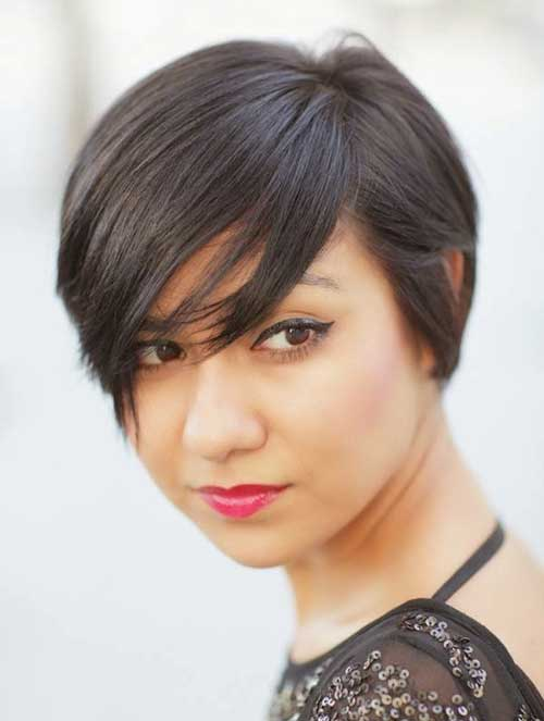 Long Straight Pixie Cut for Round Faces