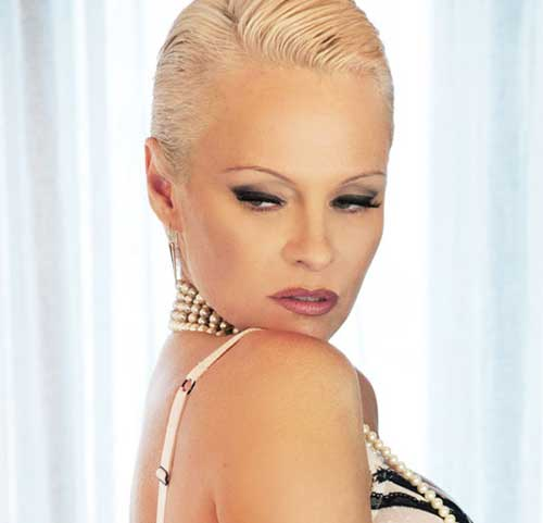 Pamela Anderson Slicked Back Pixie Hair
