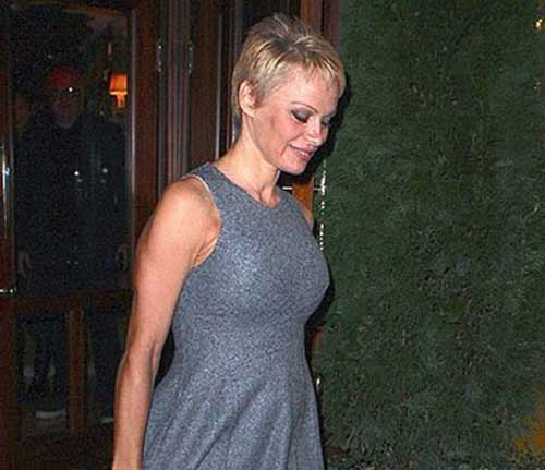 Pamela Anderson Trendy Pixie Haircut