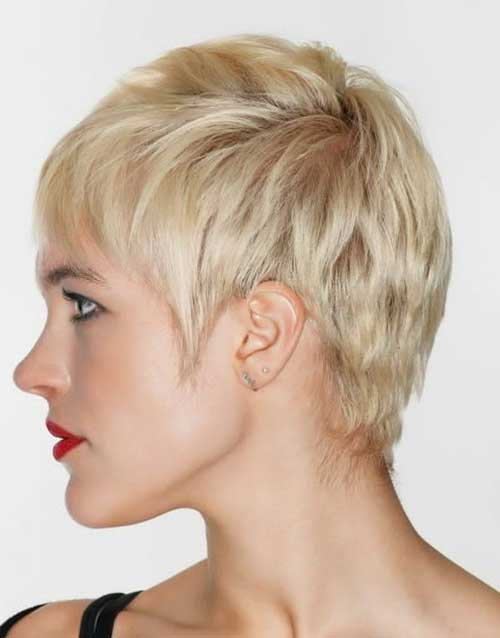 Pixie Casual Blonde Hair Cut 2015