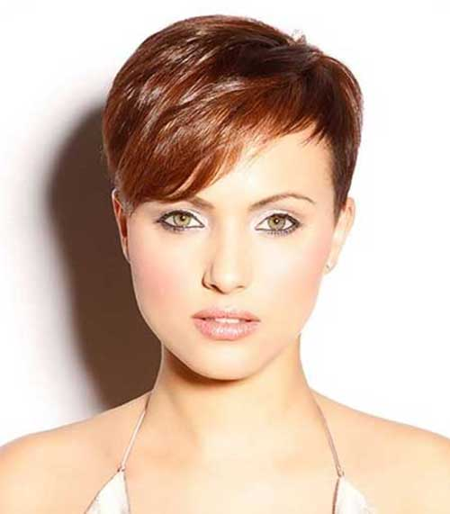Side Parted Pixie Hair with Bangs Brown Color Idea
