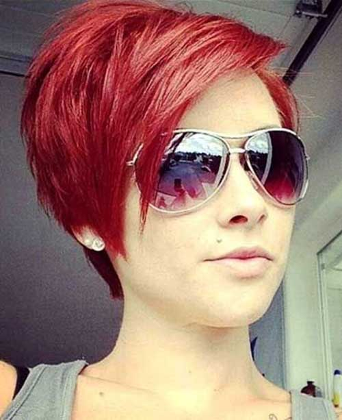 Red Pixie Haircut and Color