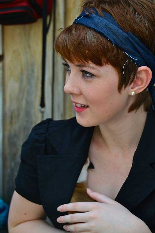 Short Brown Pixie Hair with Headband