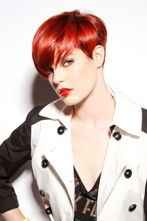 Short Red Straight Pixie Cut Hair