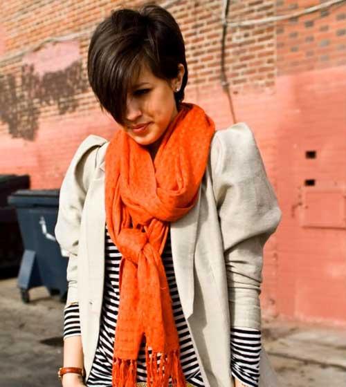 Short Straight Dark Brown Pixie Haircut