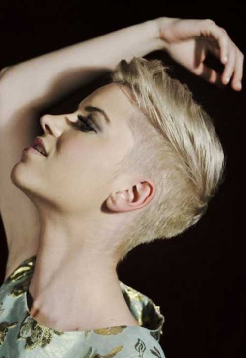 Side Shaved Blonde Pixie Cuts