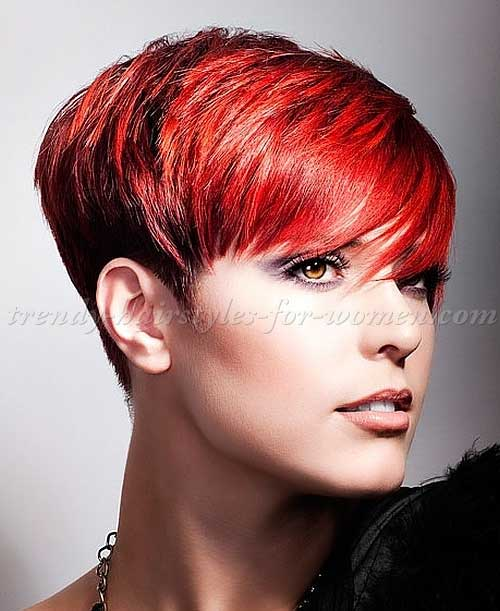 Side Swept Red Pixie Hair Ideas