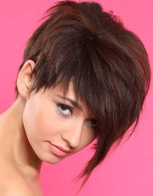 Straight Longer Brown Pixie Haircut