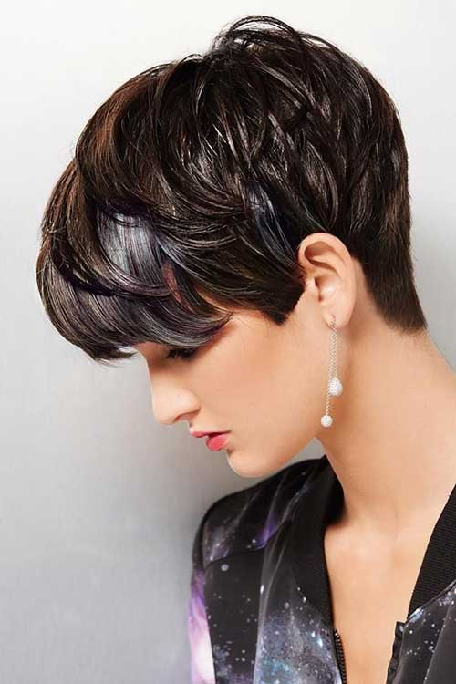 Textured Dark Pixie Hair Cuts