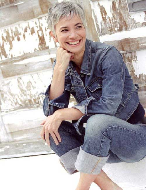 Trendy Grey Pixie Short Hair