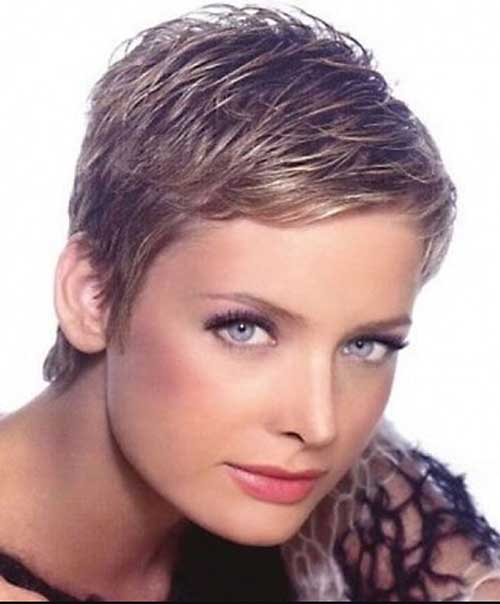 Women with Thick Layered Pixie Hair Styles