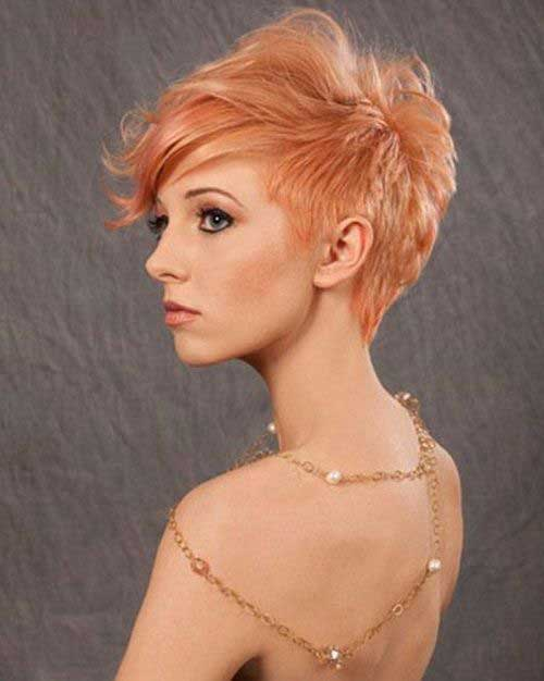 Asymmetrical Pixie Cuts Peach Hair Color