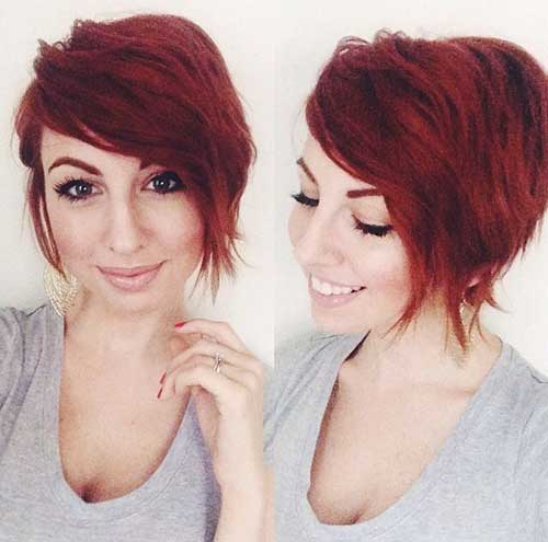 Asymmetrical Red Pixie Hair Cuts