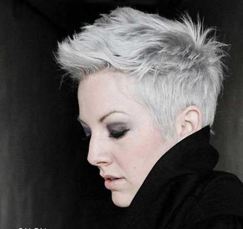 Messy Grey Pixie Haircut