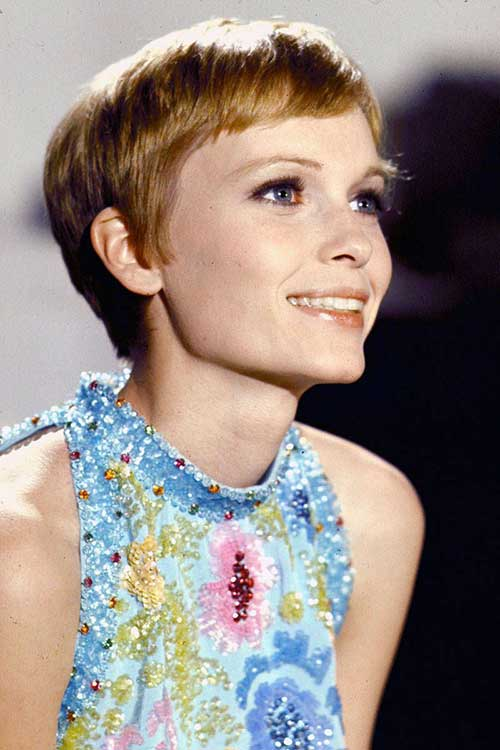 Mia Farrow Pixie Cut Hair
