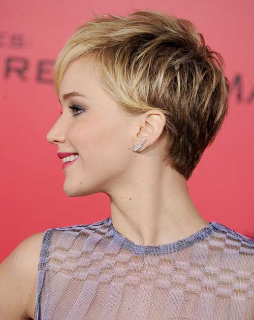 Pixie Cut Blonde Color Back View