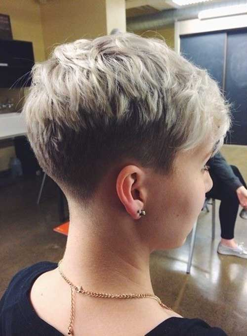 Pixie Cut Blonde Hair Back View