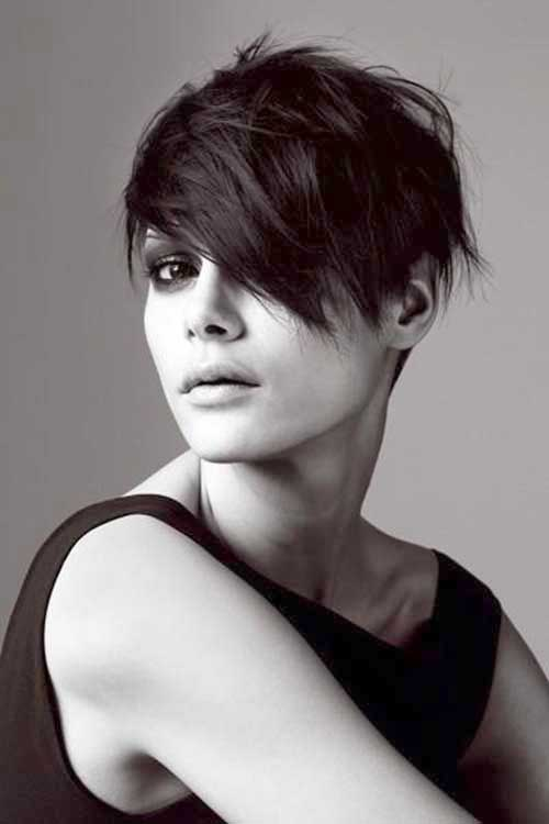 Dark Pixie Haircut Round Face