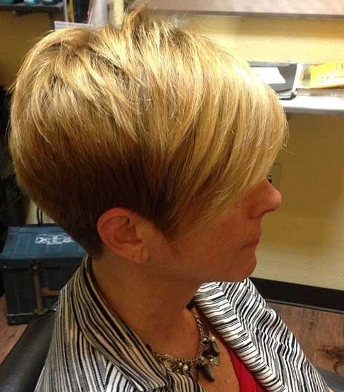 Blonde Pixie Haircut with Long Bangs