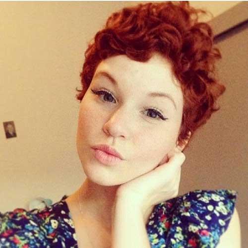Red Curly Pixie Hair Cut