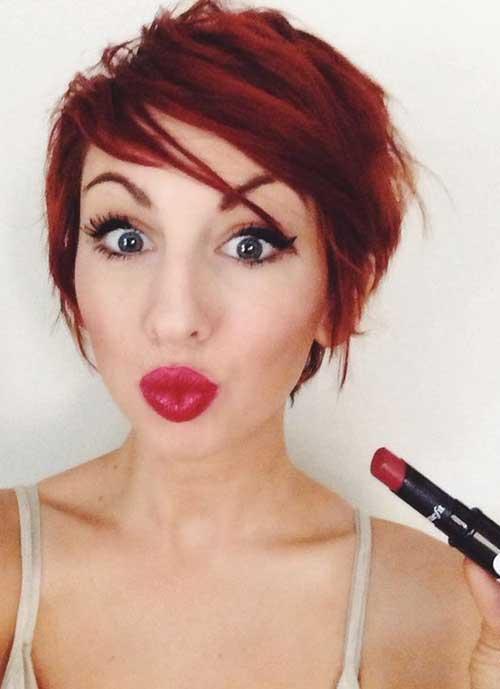 Red Pixie Hair Cut