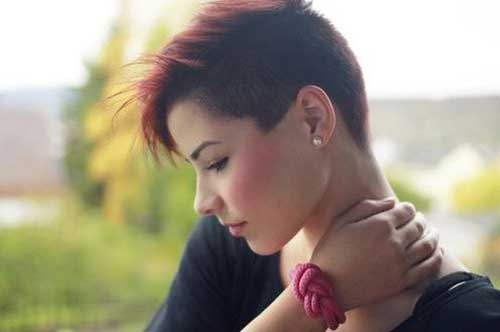 Red Shaved Pixie Cut