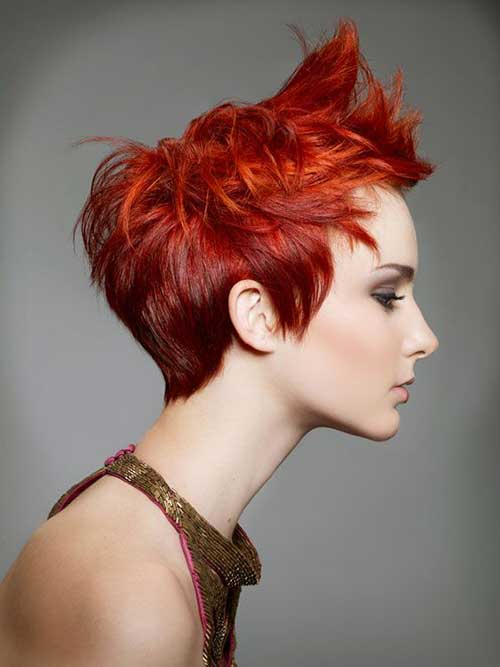 Red Spiky Pixie Cut Style