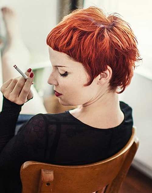 Stylish Red Pixie Cut