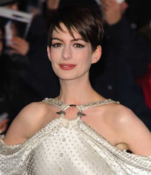 Anne Hathaway Dark Pixie Cut