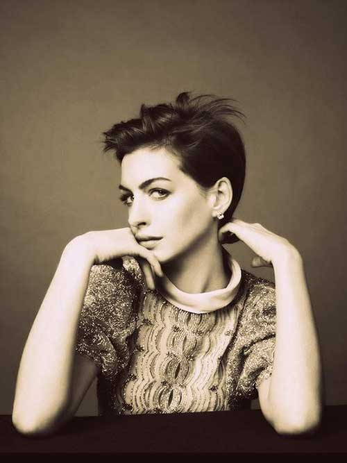 Anne Hathaway Thick Pixie Haircut
