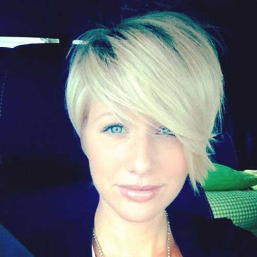 Blonde Asymmetrical Straight Pixie Haircut
