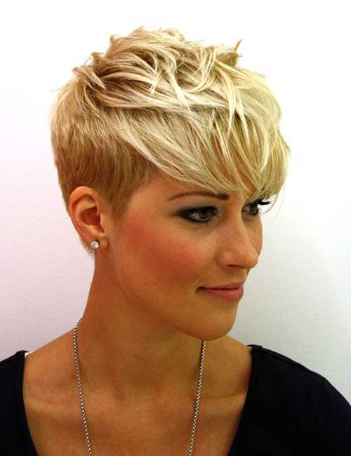 Blonde Pixie Haircut Ideas with Long Bangs