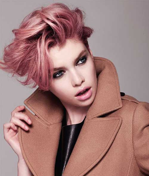 Pastel Pink Pixie Cut Hairstyle