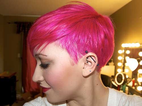Pink Hair Long Pixie Haircuts